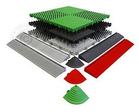Ribdeck tegels foto met randen en hoekstukken